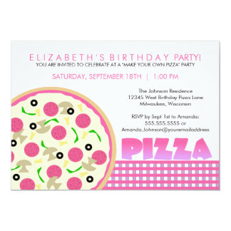 Rosa och purpurfärgad Pizzapartyinbjudan 12,7 X 17,8 Cm Inbjudningskort