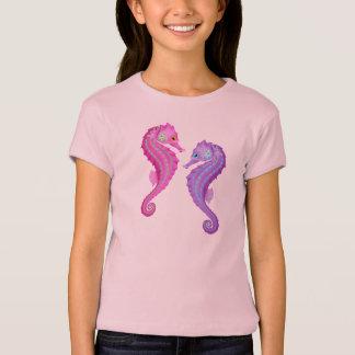 Rosa och purpurfärgade Seahorses för strandtema Tröja