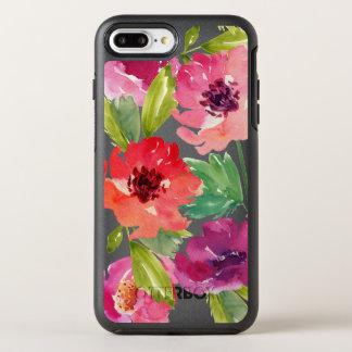 Rosa och purpurfärgade vattenfärgblommar OtterBox symmetry iPhone 7 plus skal