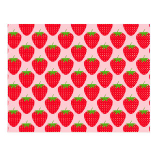 Rosa och röd jordgubbemodell vykort