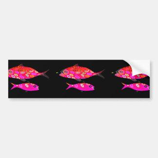 Rosa och röd psychedelic fisk bildekal
