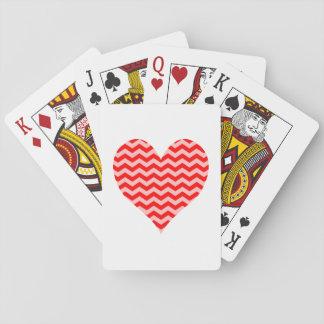 Rosa och röd sparrehjärta spelkort