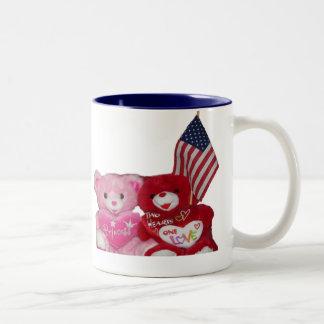Rosa och röda björnar med amerikanska Två-Tonad mugg