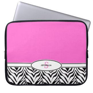 Rosa- och sebrabärbar dator laptop datorskydd