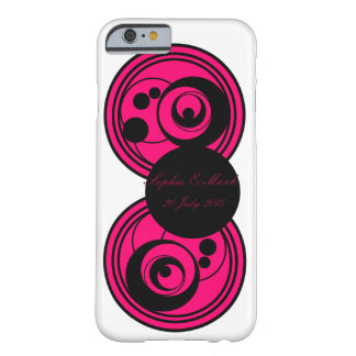 Rosa och svart abstrakt cirklar monogramen phone/c barely there iPhone 6 fodral
