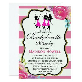 Rosa och svart blom- Bachelorette inbjudan