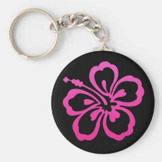 Rosa och svart blomma Keychain Rund Nyckelring