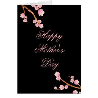 Rosa och svart blommigt för lycklig mors dag hälsningskort
