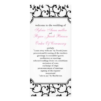 rosa och svart bröllopsprogram personliga rack kort