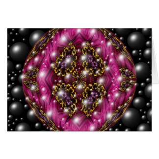 Rosa och svart bubbla designen hälsningskort