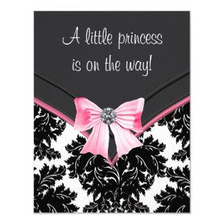 Rosa och svart damastast baby shower 10,8 x 14 cm inbjudningskort