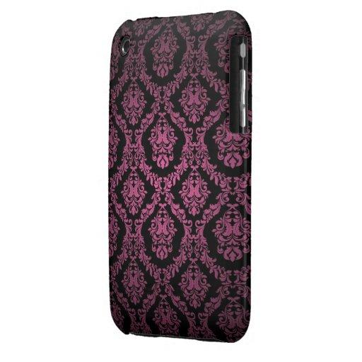 Rosa och svart damastast designblackberry curvefod Case-Mate iPhone 3 skydd