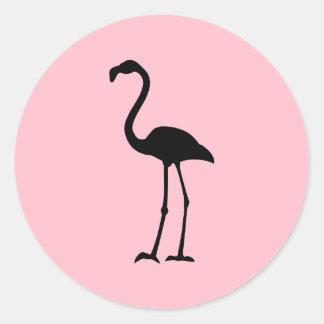 Rosa och svart Flamingo Runda Klistermärken