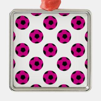 Rosa och svart fotbollbollmönster julgransprydnad metall