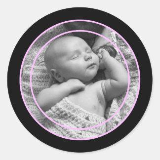 Rosa och svart fotoram runt klistermärke