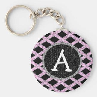 Rosa och svart korsmönstrad monogramkeychain rund nyckelring
