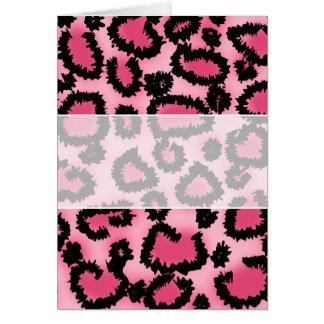 Rosa och svart Leopardtryckmodell Hälsningskort