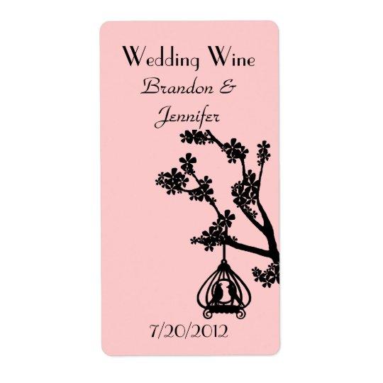 Rosa och svart love birds som gifta sig mini- vine fraktsedel