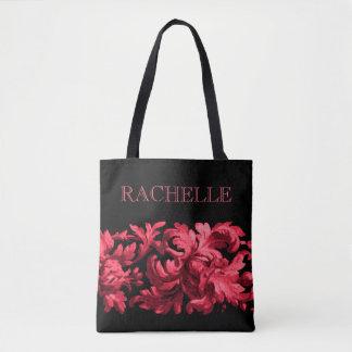 Rosa och svart målad barock gräns med namn tygkasse