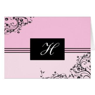 Rosa och svart Monogrammed kort för anpassade