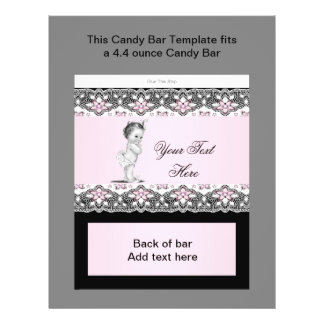 Rosa och svart omslag för baby showergodispub reklamblad 21,5 x 30 cm