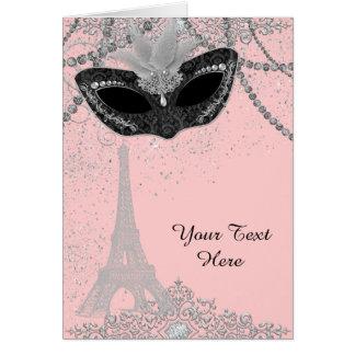 Rosa och svart Paris maskeradparty Hälsningskort