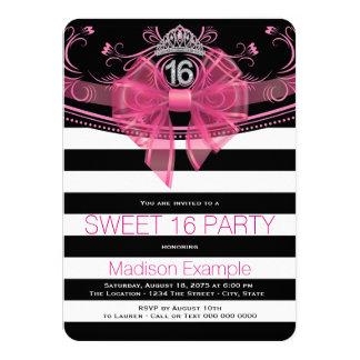 Rosa och svart party för Paris Princess Sötsak 16 11,4 X 15,9 Cm Inbjudningskort