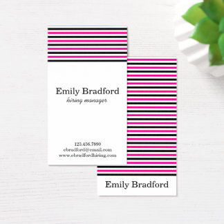 Rosa och svart randiga visitkortar visitkort