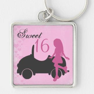 Rosa och svart Silhouetteflicka för sötsak 16 med Fyrkantig Silverfärgad Nyckelring