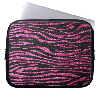 Rosa och svart zebra tryck som bling (fauxglitter) datorskydds fodral