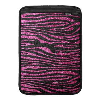 Rosa och svart zebra tryck som bling (fauxglitter) sleeves för MacBook air