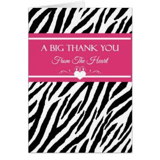 Rosa och svart zebra trycktack från hjärta hälsningskort