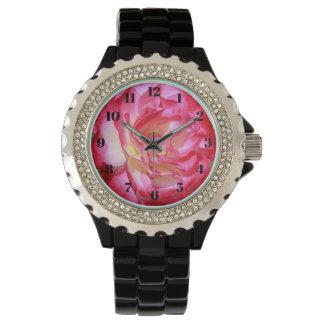Rosa- och vit roskvinna klocka