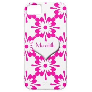 Rosa- och vitblomma+Vithjärta/personifierar namn iPhone 5 Skydd