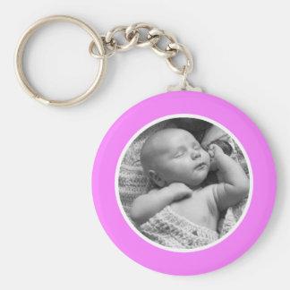Rosa- och vitfoto Keychain Rund Nyckelring
