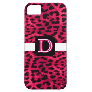Rosa- och vitLeopardMonogram iPhone 5 Case-Mate Skydd