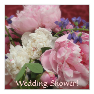Rosa- och vitpioner fyrkantigt 13,3 cm inbjudningskort
