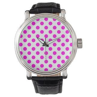 Rosa- och vitpolkaen pricker klockan armbandsur