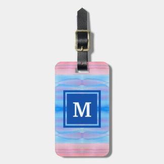 Rosa Ombre för Monogramvattenfärgblått gradering Bagagebricka