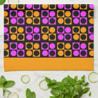Rosa orange Patten för Retro mod kökshandduk