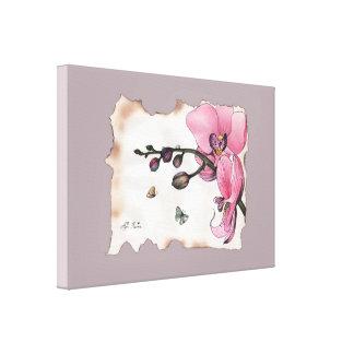 """""""Rosa orchid med två fjärilar"""" vid Agni Kama Canvastryck"""