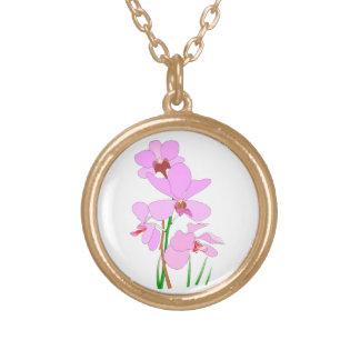 Rosa Orchidblommor Guldpläterat Halsband