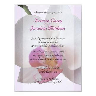 Rosa Orchidbröllopinbjudan 10,8 X 14 Cm Inbjudningskort