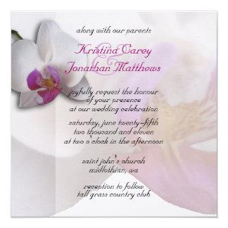 Rosa Orchidbröllopinbjudan 5.25x5.25 Fyrkantigt 13,3 Cm Inbjudningskort