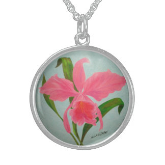 Rosa orchidhalsband sterling silver halsband
