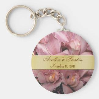 Rosa Orchids som gifta sig favörguld Keychain Nyckel Ringar