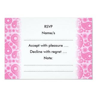 Rosa Paisley. 8,9 X 12,7 Cm Inbjudningskort