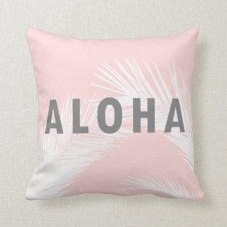 Rosa palmträd för hawaiiboAloha grå färgtypografi Kudde