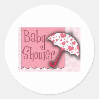 Rosa paraplybaby shower runt klistermärke