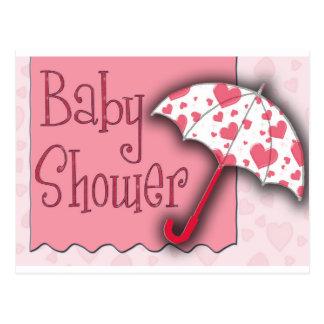 Rosa paraplybaby shower vykort